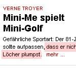 Man sieht auf dem Bild Mini-Me Golf spielen