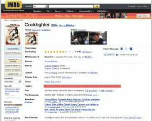 Der Film Cockfighter in der IMDb