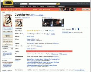 Der Film Cockfighter in der IMDb