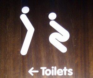 Zwei Piktogramme die einen Mann und eine Frau darstellen sollen...