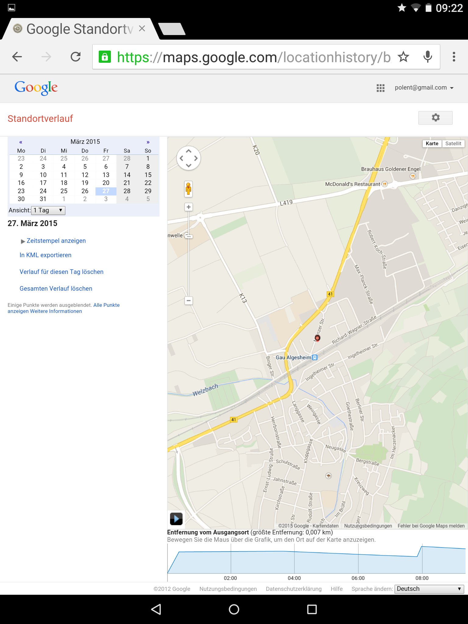 Ein Tag Radius bei Google Location