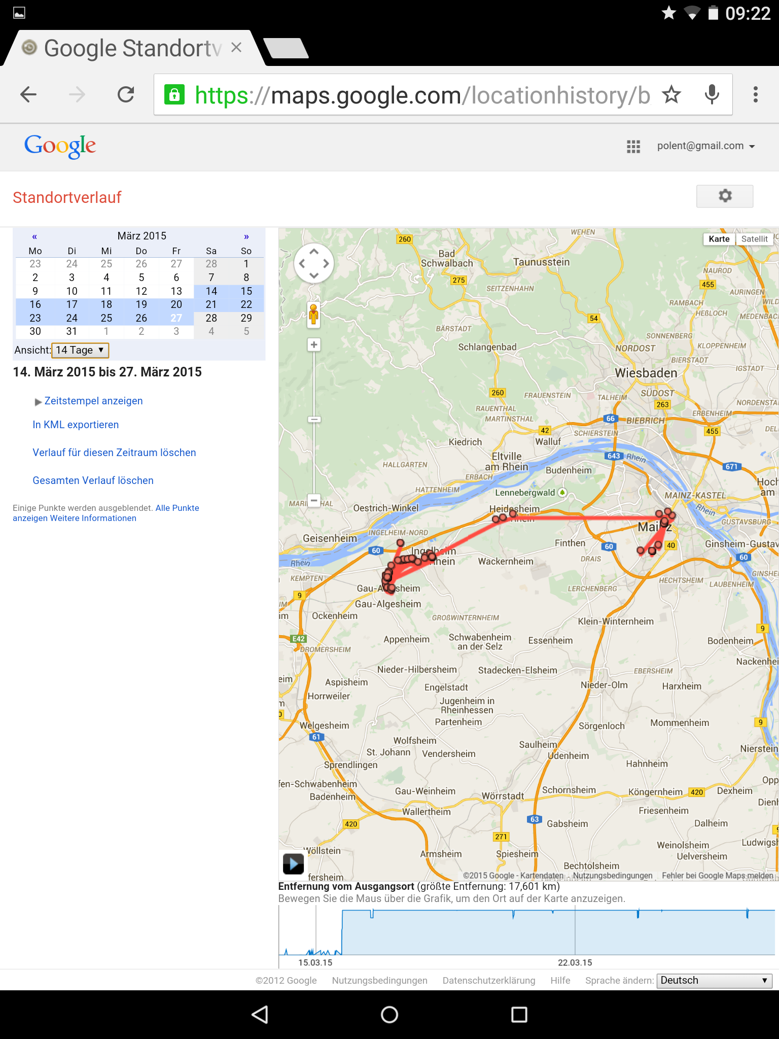 Zwei Wochen Radius bei Google Location