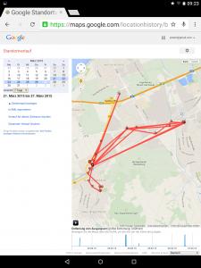 Sieben Tage Radius bei Google Location